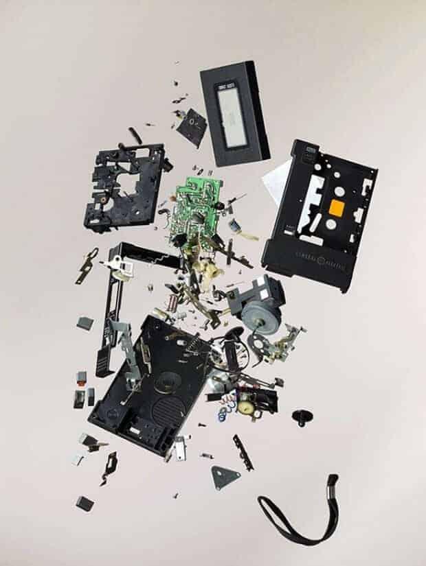 ontploffende cassetterecorder