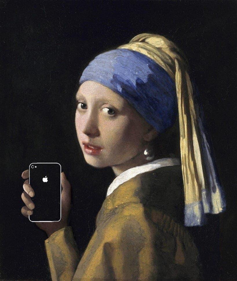 Beroemde schilderijen met smartphones en tablets