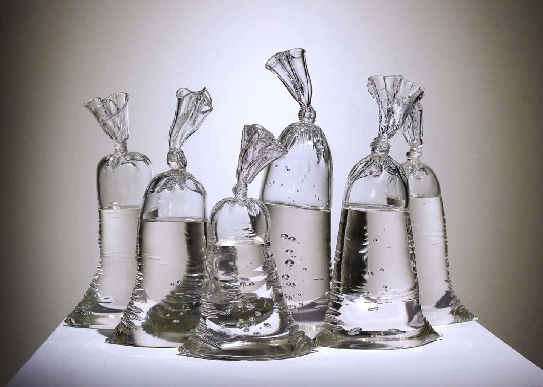 plastic zak van glas