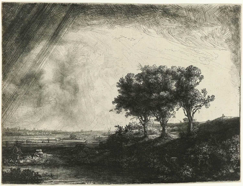 Rembrandt van Rijn-De drie bomen 1643