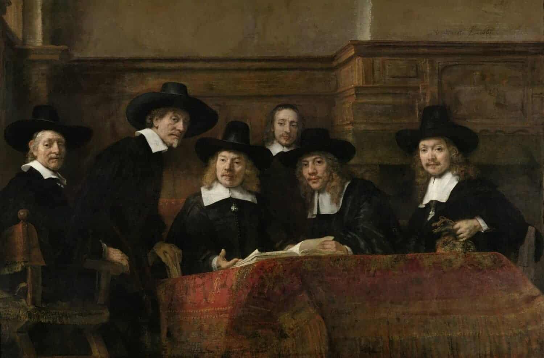 Rembrandt van Rijn - De waardijns van het Amsterdamse lakenbereidersgilde Beter bekend als De-Staalmeesters 1662