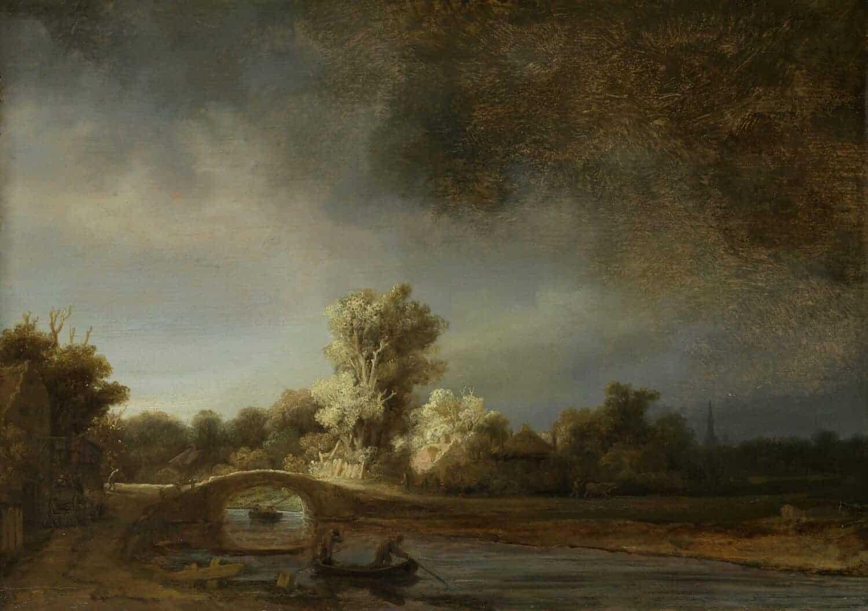 Rembrandt van Rijn - Landschap met stenen brug circa 1638