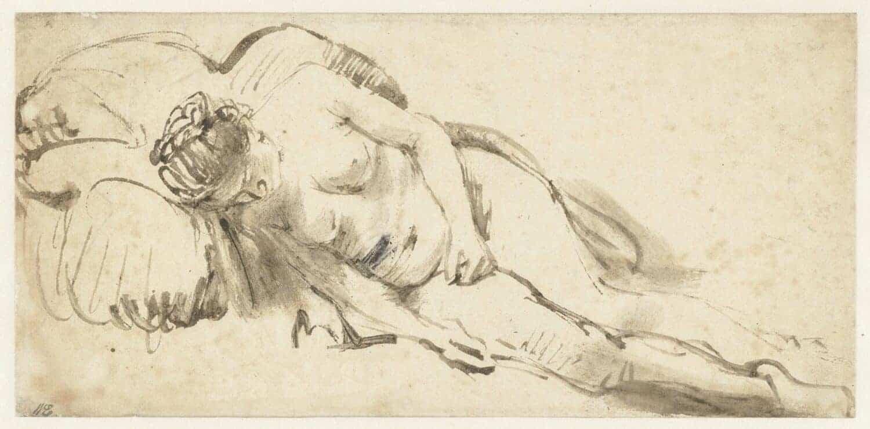 Rembrandt van Rijn - Naakte vrouw rustend op een kussen circa 1658