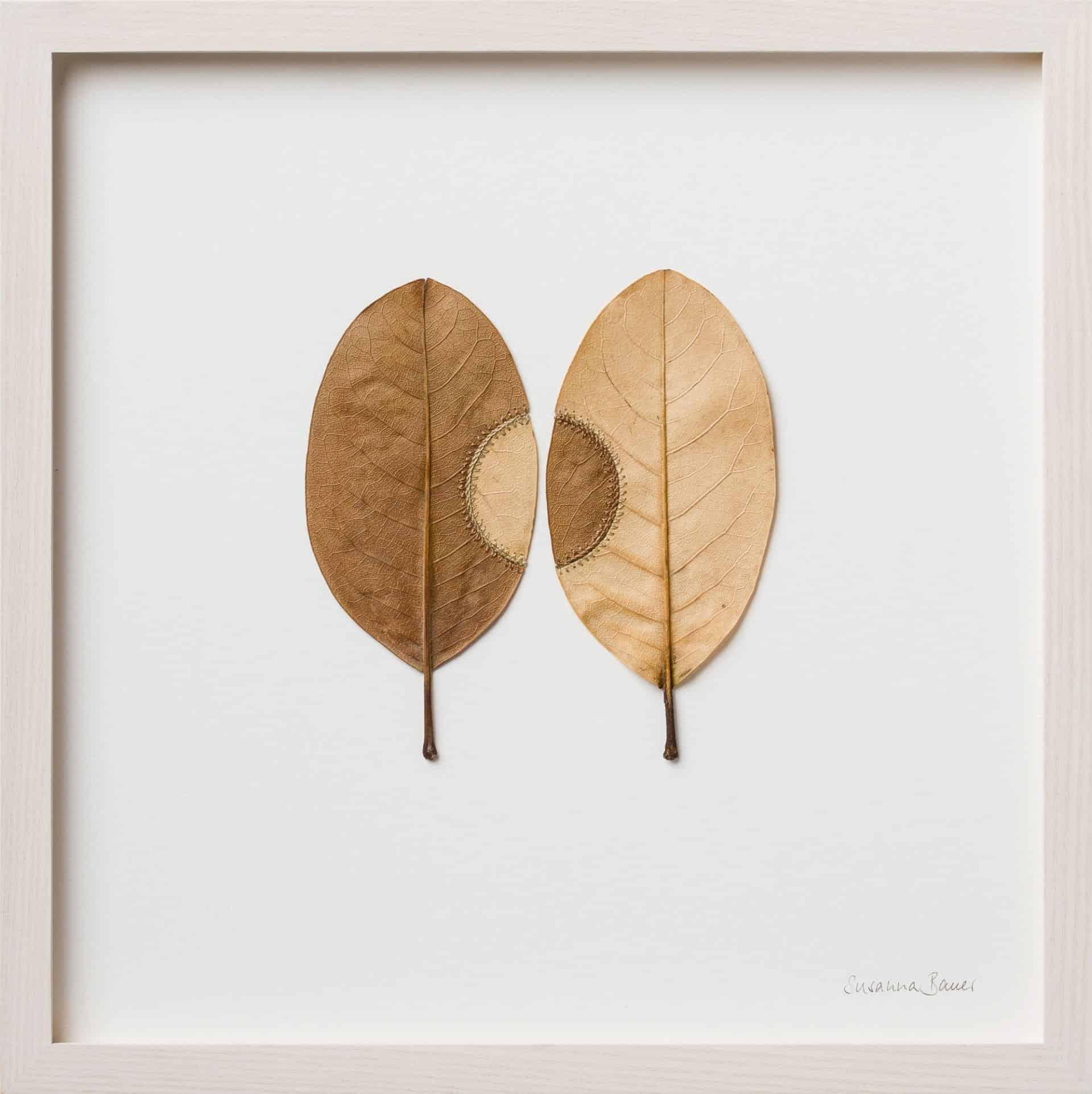 Bladeren met borduurwerk