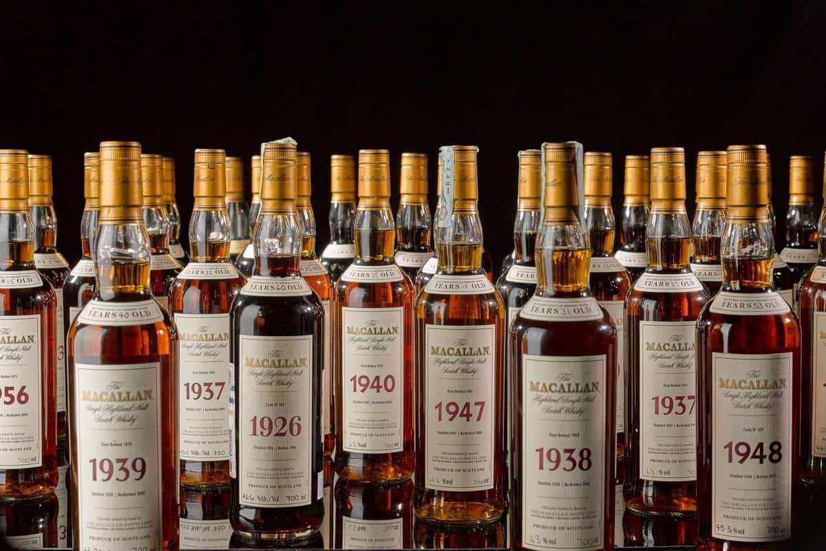 een prachtige verzameling met exclusieve flessen whisky