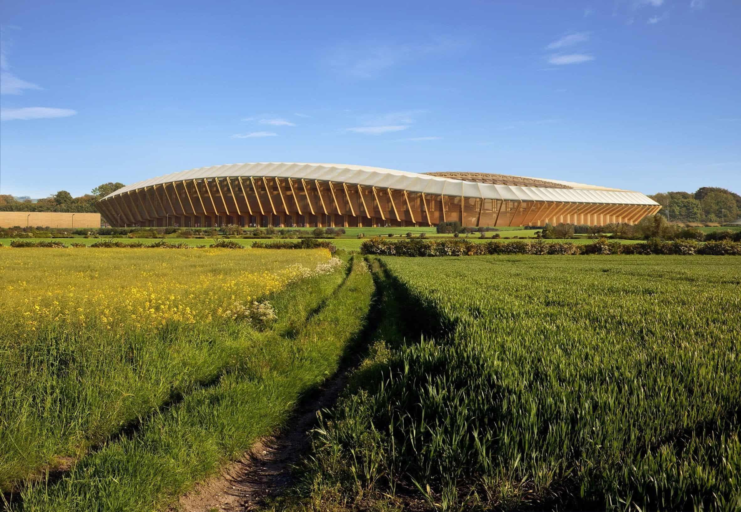 Houten voetbalstadion door Zaha Hadid Architects