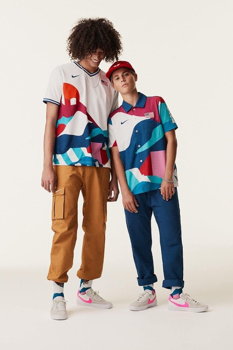 Outfits voor Olympische skateboarders