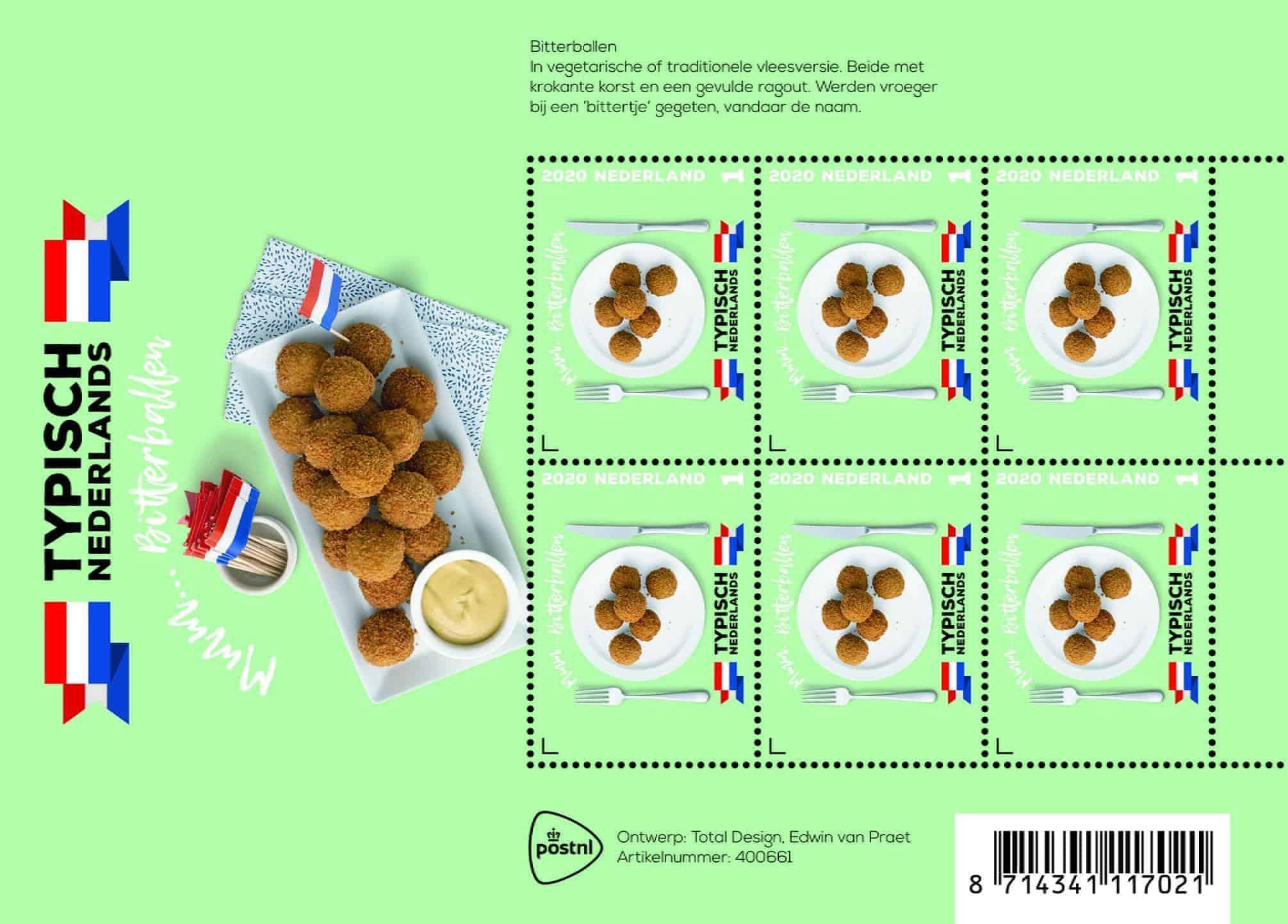 bitterballen op een postzegel