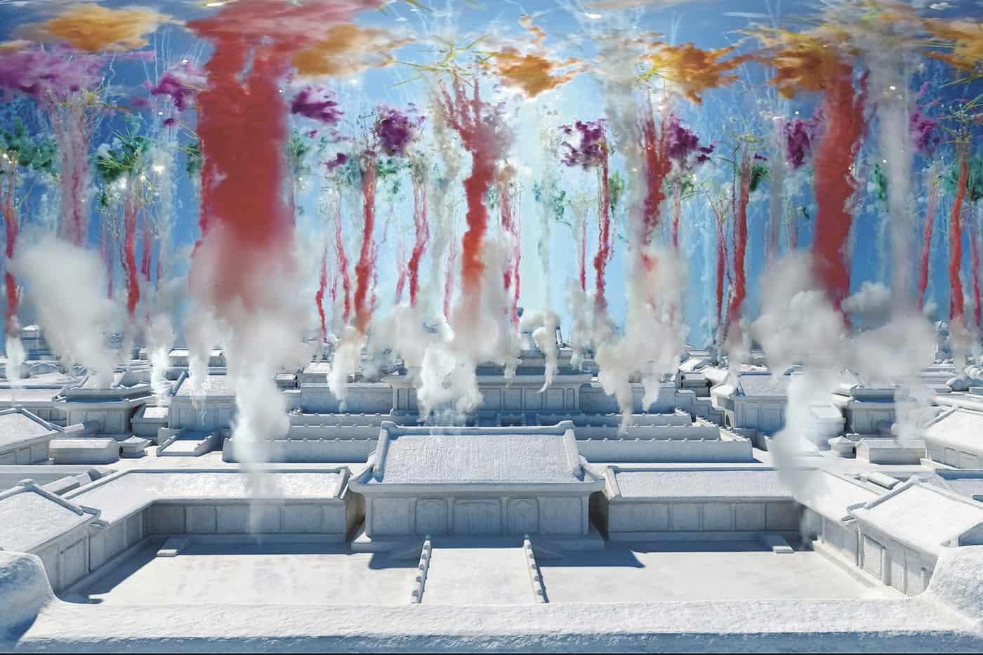 Digitaal vuurwerk van kunstenaar Cai Guo-Qiang
