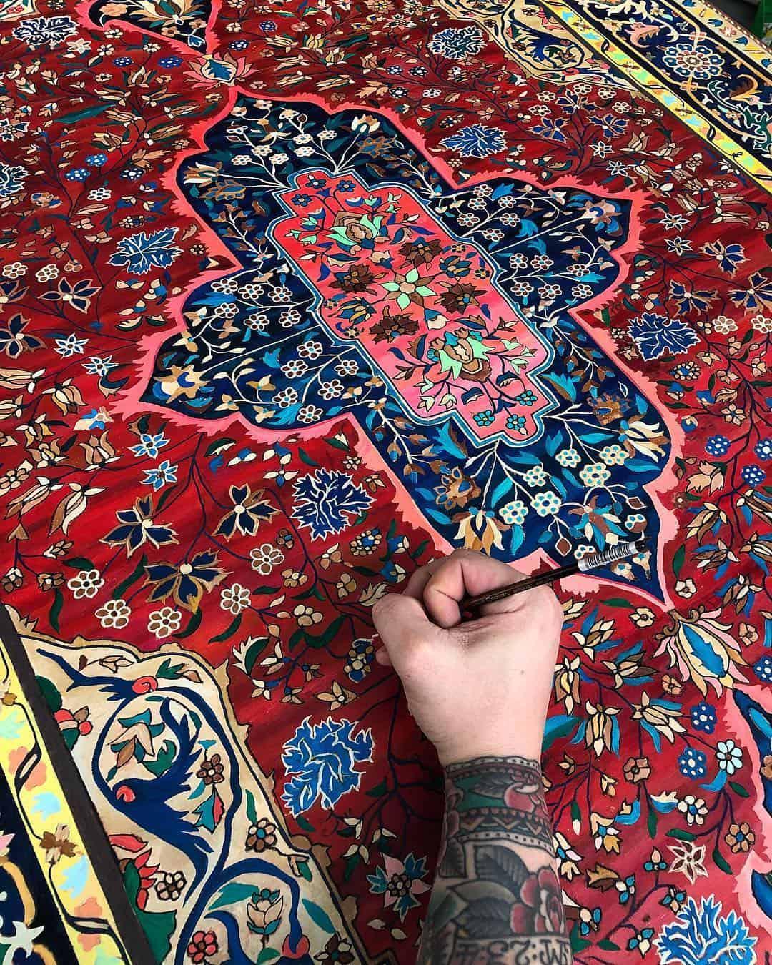 schilderij van een tapijt