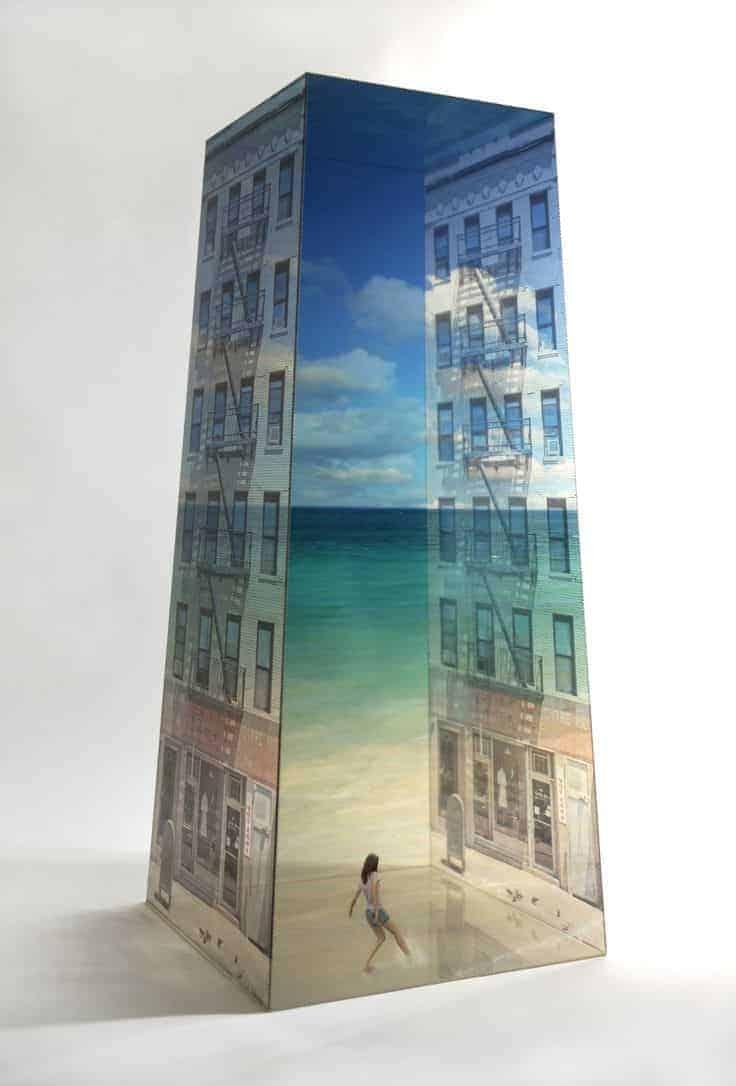 combinatie van foto en sculptuur door kunstenaar Koh Myung Keun