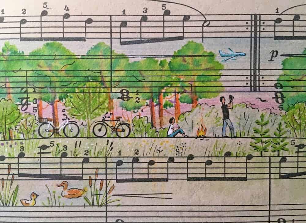tekening op bladmuziek