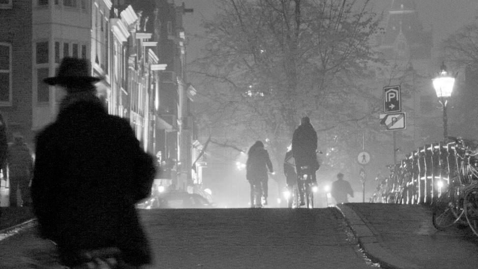 Fietsers op de Spiegelgracht in Amsterdam