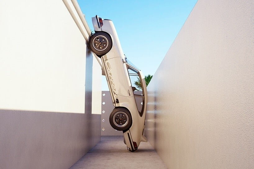 Kunstenaar Chris Labrooy parkeert de Porsche 911 op vreemde plaatsen
