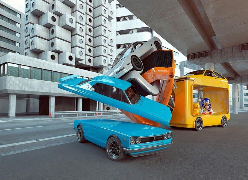 vreemde auto's van kunstenaar Chris Labrooy