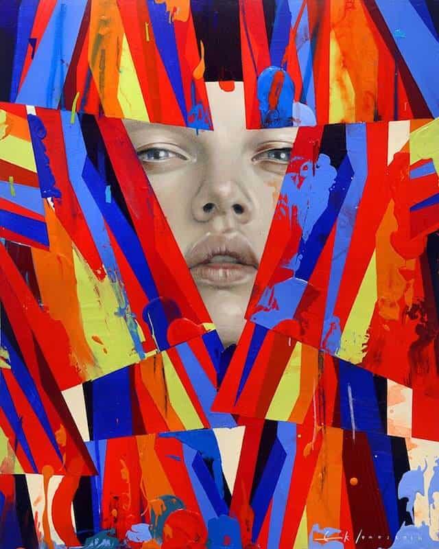 Kunstenaar Erik Jones combineert in zijn werk vrouwen met abstracte beelden