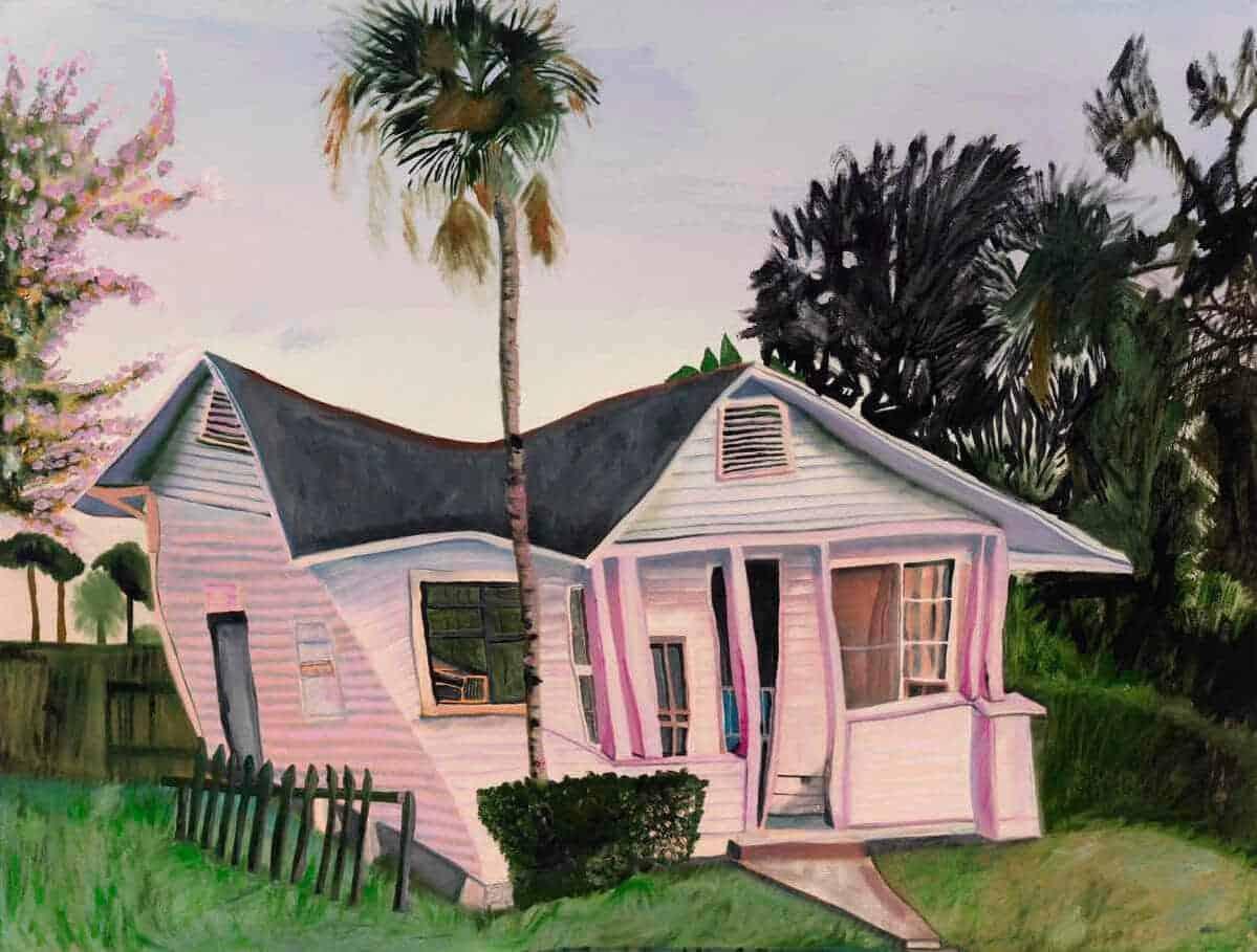 trippy schilderij van een huis