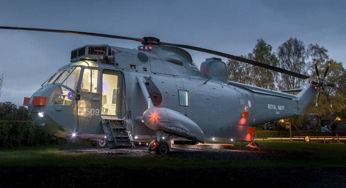 glamping in een helikopter