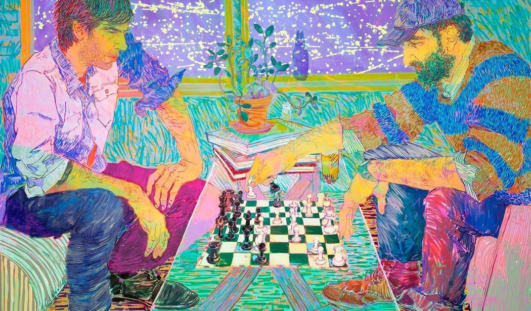 Bodner/Caivano Chess Match, 2016, acrylic on canvas. 72 x 96 in.