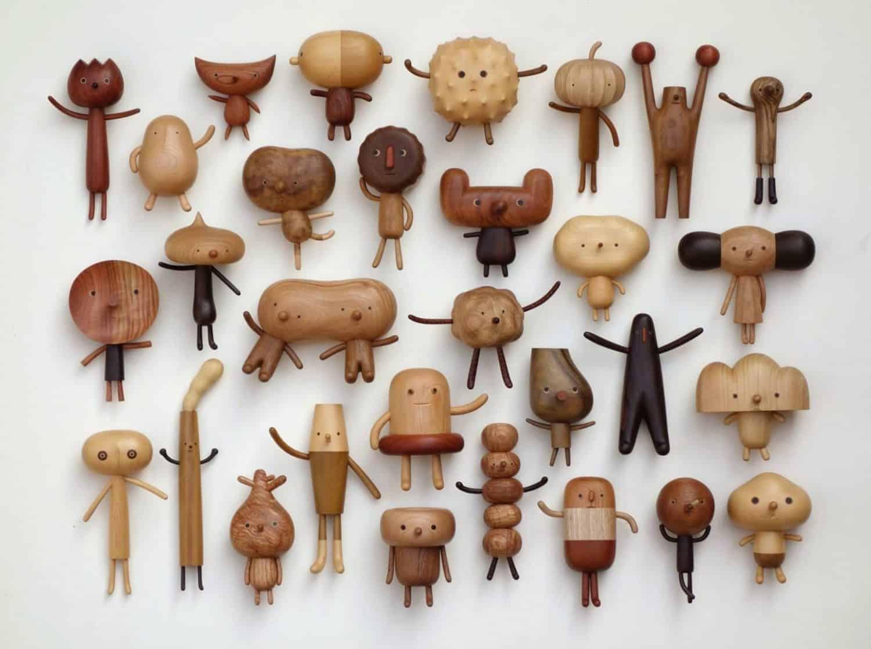 grappige houten poppetjes van Yen Jui-Lin