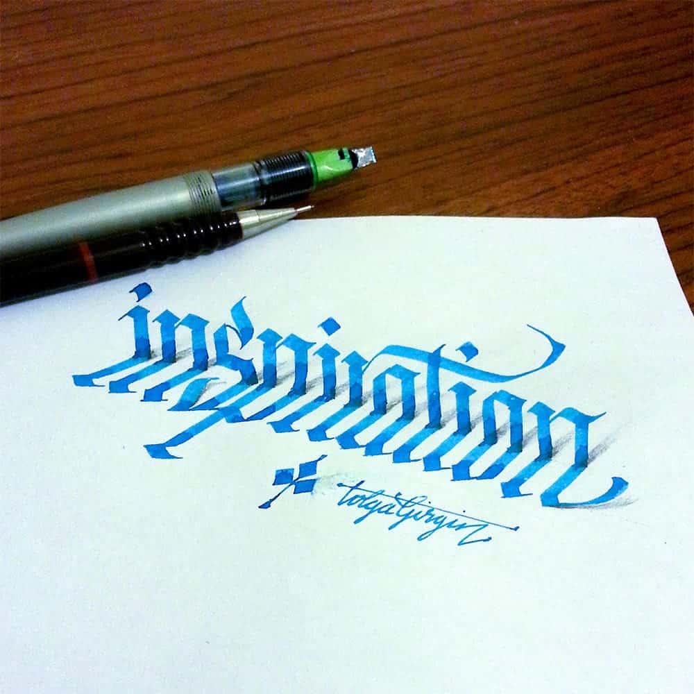 Driedimensionale kalligrafie door Tolga Girgin