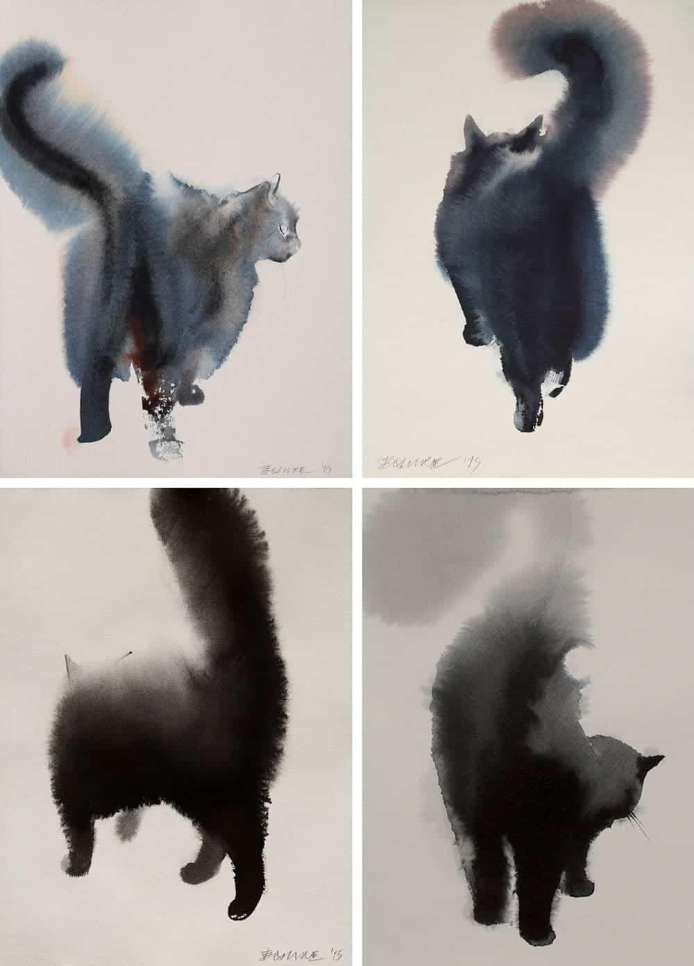 Zwarte katten van inkt en waterverf