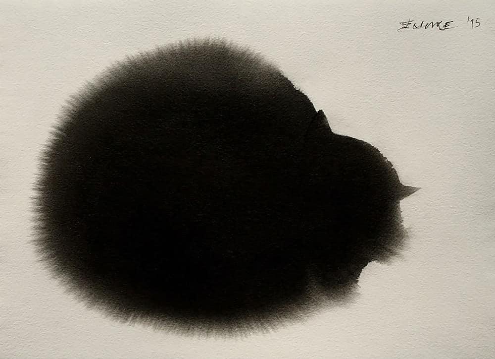 Zwarte kat van inkt en waterverf