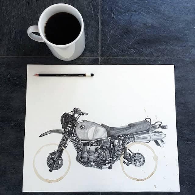 potloodtekening met koffievlek