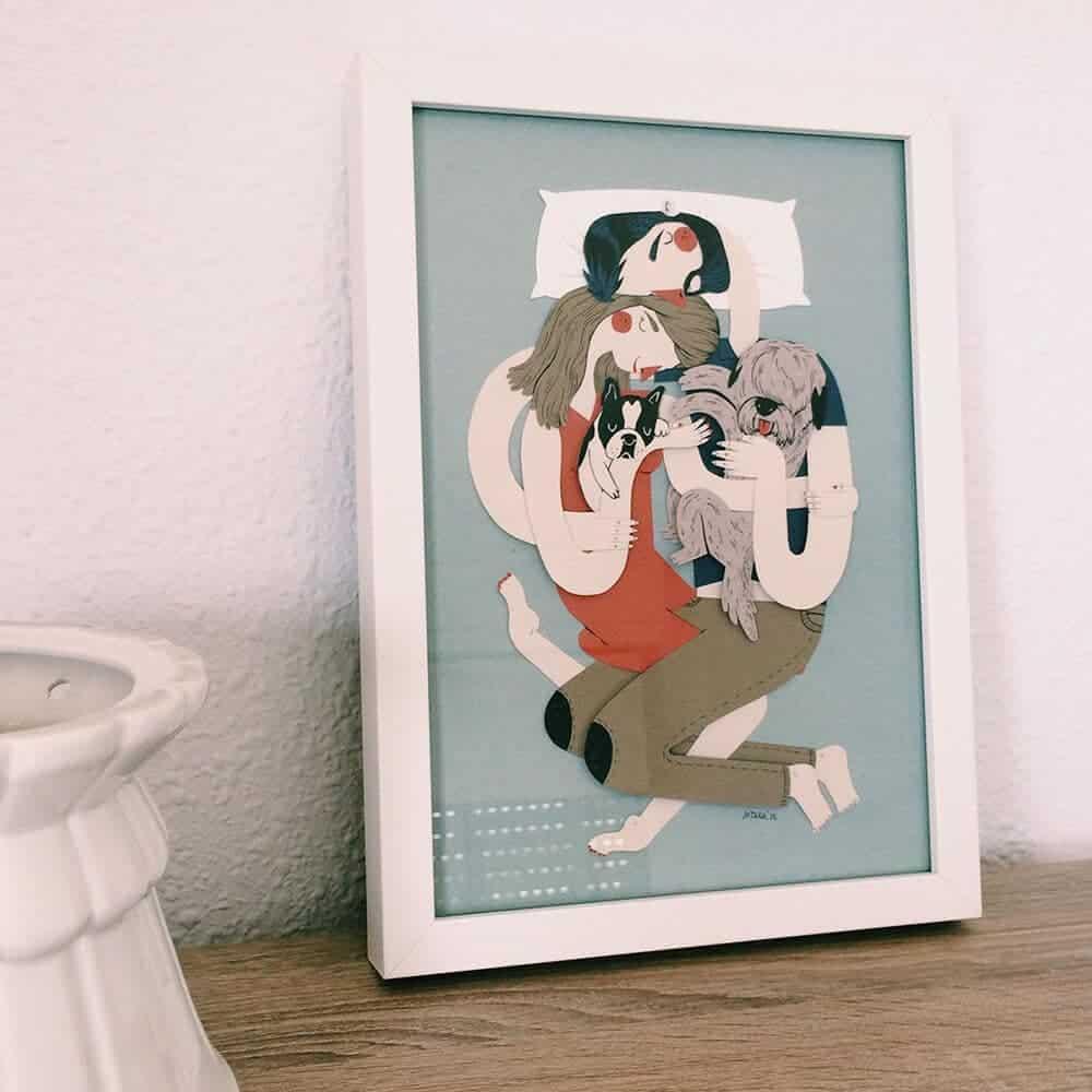 familieportret door de Spaanse kunstenaar Jotaká