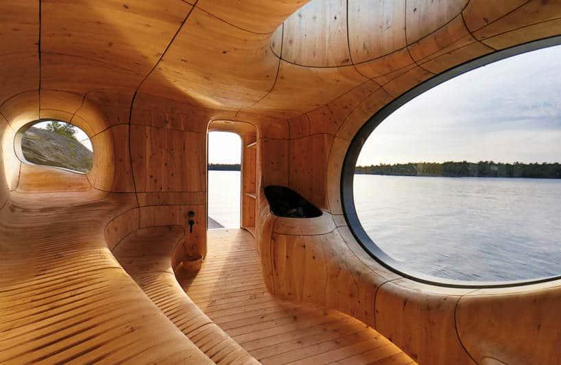 Grotto: een fraai gevormde sauna met prachtig uitzicht
