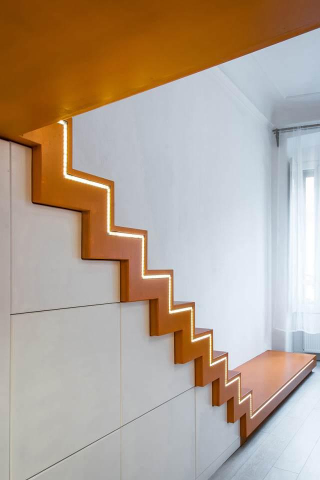 Futuristische slaapkamer met unieke verlichting
