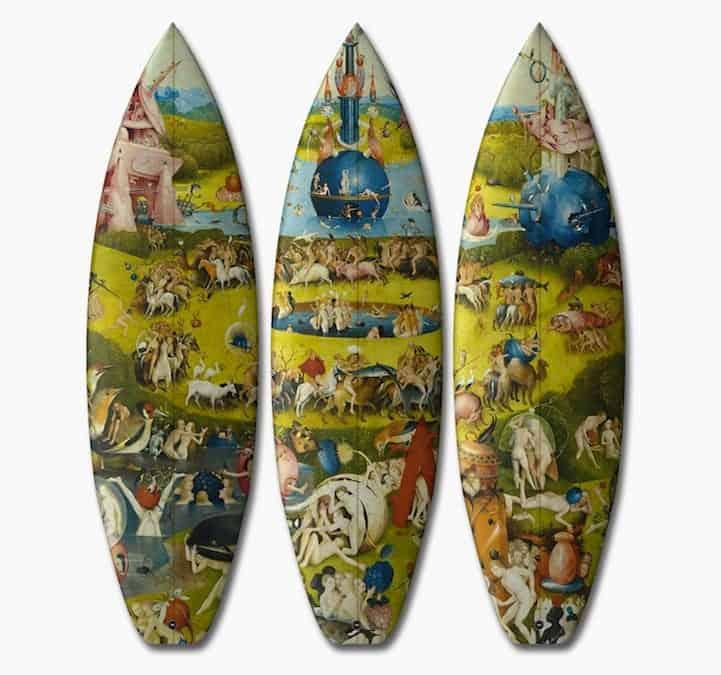 Surfboards met middeleeuwse kunst